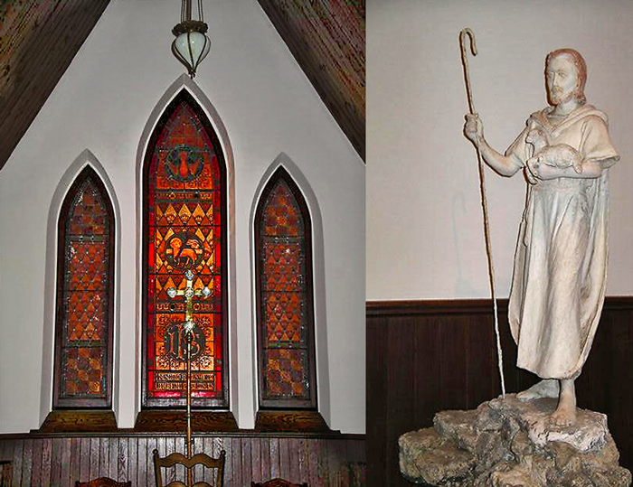 Good-Shepherd-east-window+Statue